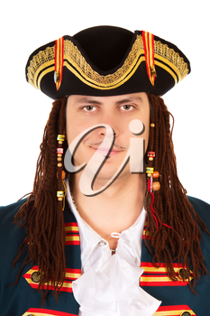 Portrait of grinning man wearing pirate costume and cocked hat. Isolated on white