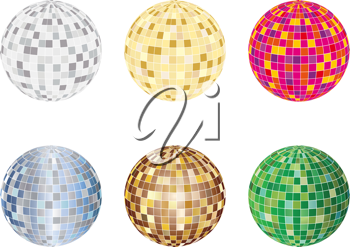 Royalty Free Clipart Image of a Set of Spheres