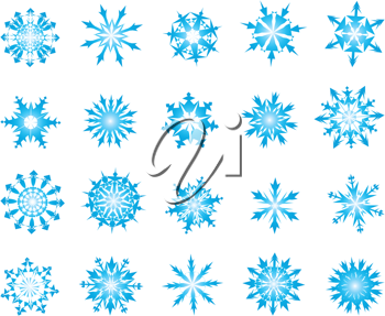 Royalty Free Clipart Image of a Set of Snowflakes