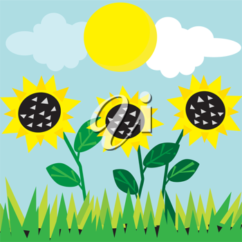 Vector meadow card. All objects are separated.