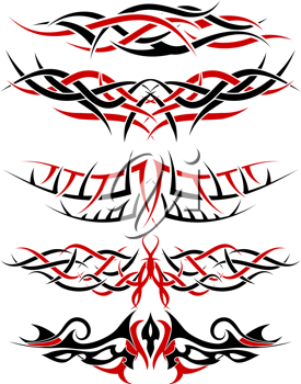 Black with red patterns of tribal tattoo for design use