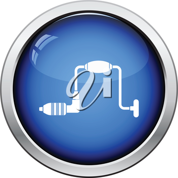 Icon of auger. Glossy button design. Vector illustration.