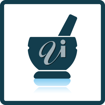 Mortar and pestle icon. Shadow reflection design. Vector illustration.