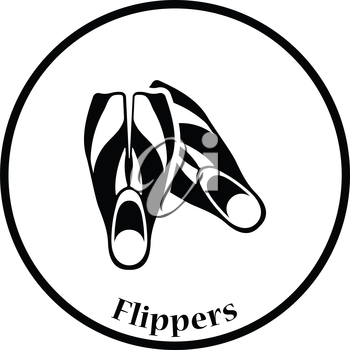 Icon of swimming flippers . Thin circle design. Vector illustration.