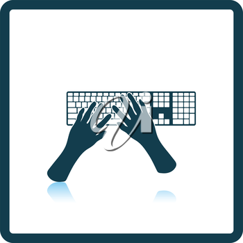 Typing icon. Shadow reflection design. Vector illustration.