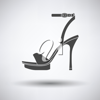 Woman high heel sandal icon on gray background with round shadow. Vector illustration.