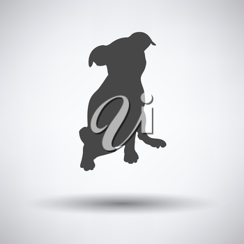 Puppy icon on gray background with round shadow. Vector illustration.