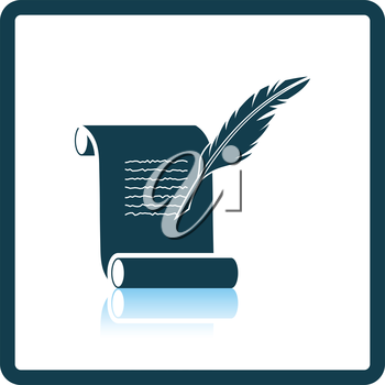 Feather and scroll icon. Shadow reflection design. Vector illustration.