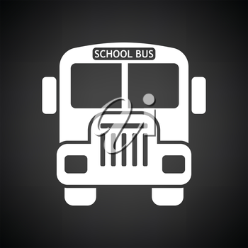School bus icon. Black background with white. Vector illustration.