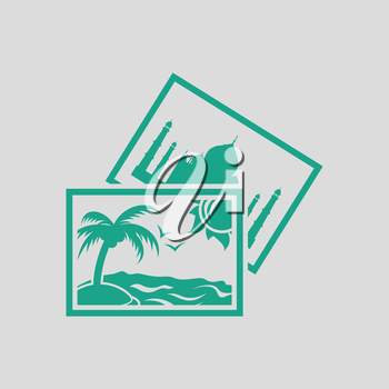 Two travel photograph icon. Gray background with green. Vector illustration.