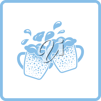 Two clinking beer mugs with fly off foam icon. Blue frame design. Vector illustration.