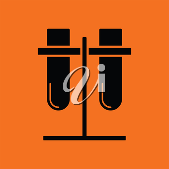 Lab flasks attached to stand icon. Orange background with black. Vector illustration.