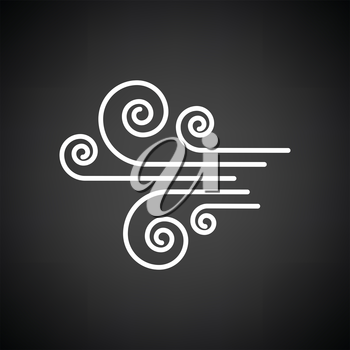 Wind icon. Black background with white. Vector illustration.