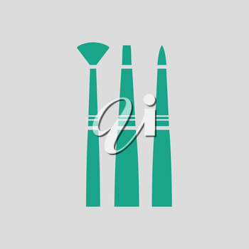 Paint brushes set icon. Gray background with green. Vector illustration.