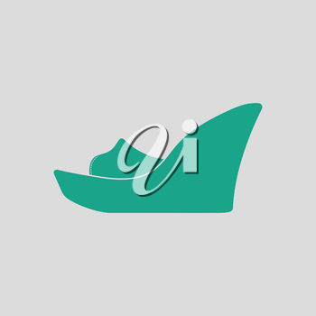 Platform shoe icon. Gray background with green. Vector illustration.