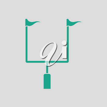 American football goal post icon. Gray background with green. Vector illustration.
