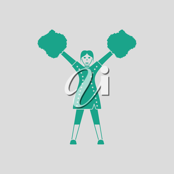 American football cheerleader girl icon. Gray background with green. Vector illustration.