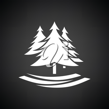 Fir forest  icon. Black background with white. Vector illustration.