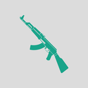 Russian weapon rifle icon. Gray background with green. Vector illustration.