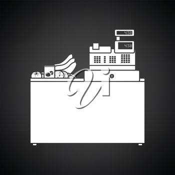 Supermarket store counter desk icon. Black background with white. Vector illustration.