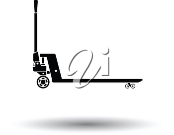 Hydraulic trolley jack icon. White background with shadow design. Vector illustration.