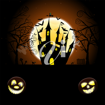 Happy Halloween Greeting Card. Elegant Design With Pumpkin, Moon, Tree, Grave, Castle, Spooky and Cats   Over Grunge Dark Blue Starry Sky Background. Vector illustration.