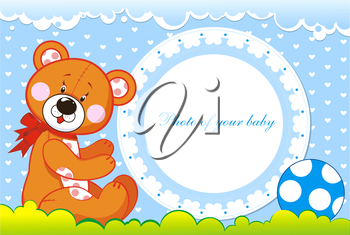 Royalty Free Clipart Image of a Baby Photo Frame With a Bear and Ball