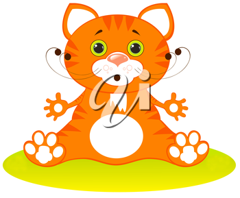 Royalty Free Clipart Image of a Kitten on the Grass
