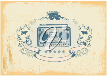 Royalty Free Clipart Image of a Heraldic Design of a Boombox