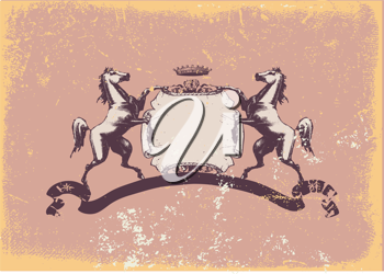 Royalty Free Clipart Image of a Heraldic Shield With Horses
