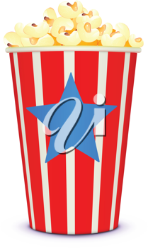 Royalty Free Clipart Image of a Box of Popcorn