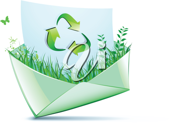 Royalty Free Clipart Image of a Recycling Symbol on an Envelope