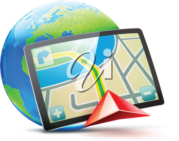 Royalty Free Clipart Image of a Global Positioning System Concept