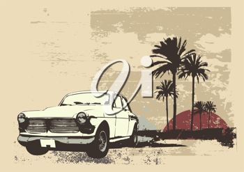 Royalty Free Clipart Image of a Retro Car
