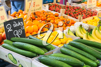 Fruit and vegetables at a market stall