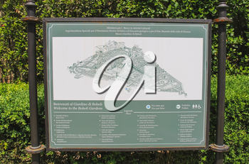 FLORENCE, ITALY - MAY 08, 2014: information board in the Boboli gardens, are one of the most famous works of landscape art of the XVI century.