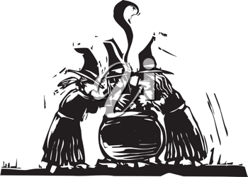 Royalty Free Clipart Image of Witches Staring at a Boiling Pot