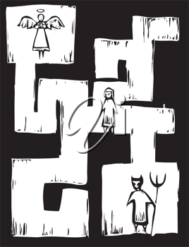 Royalty Free Clipart Image of a Child in a Maze With an Angel and Demon