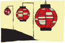 Royalty Free Clipart Image of Three Paper Lanterns on a Japanese