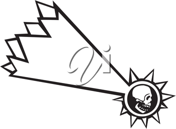 Royalty Free Clipart Image of a Falling Star With a Skull