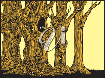 Royalty Free Clipart Image of Spooky Trees