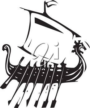 Expressionist style Woodcut image of a Nordic viking sailing ship.