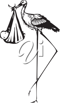 Woodcut style expressionist image of a very tall stork delivering a baby