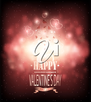 Valentine's Day Background With Hearts, Butterflies And Title Inscription