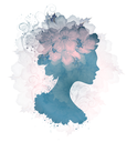 Abstract Design Vintage Grunge Beautiful Silhouette Floral Woman