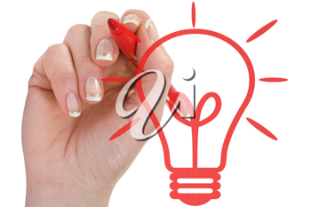 Royalty Free Photo of a Hand Drawing a Light Bulb