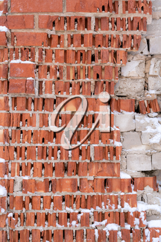 Outdoor texture - demaged red brick wall background