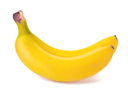 Two juicy yellow banana on white background