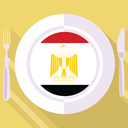 plate in flat style with flag of Egypt