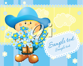 Royalty Free Clipart Image of a Little Girl in Blue Holding Flowers With Space for Text